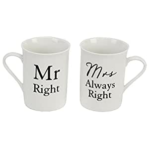 Amore Mr Right and Mrs Always Right by Amore Pair of China Mugs by Amore