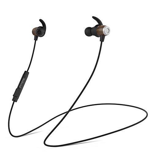 dodocool Ecouteur Bluetooth Magnétique Stéréo en Bois IPX5 Imperméable et Anti-transpiration Casque avec HD Mic CVC 6.0 Annulation de Bruit Noir
