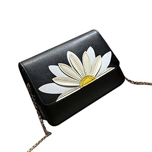 BZLine® Frauen Messenger Taschen Lotus Crossbody Schulter Handtasche Umhängetasche, 19cm*6cm*15cm Schwarz
