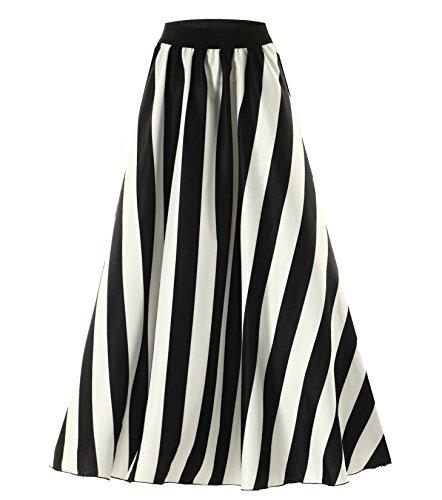 Afibi Frauen Chiffon Wischen Fußboden Längen großer Kamm fester Strand hoher Taille Maxi Rock (M, Schwarz 2)