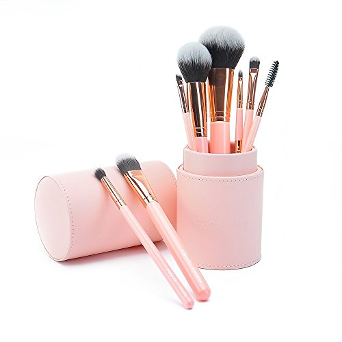 MSQ Makeup Brushes Sets 8pcs Professional Cosmetic Brushes with Luxury PU Leather Cylinder Best Christmas Gifts for Your Love (Pink, Collection' Edition)