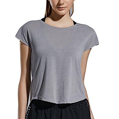 Vertvie Femme T-shirt Lâche Sport Manches Courtes V Back Profond Crosse Tops Débardeur Casual pour Yoga Fitness Jogging Gris