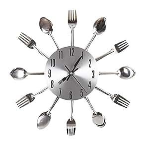 Ohuhu® Orologio da Parete Disegno Forchetta & Cucchiaio Posate da Cucina / Orologio Decorativo, Argento