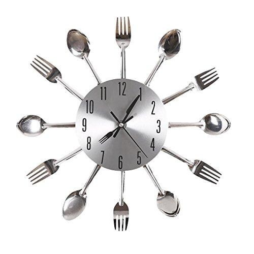 Gearmax® Cubertería plateado diseño moderno reloj de pared utensilios de cocina cuchara tenedor cuchillo reloj kit de mecanismo de cuarzo silencioso