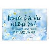 Große Abschiedskarte XXL (A4) Vergiss uns nicht - Blaue Blumen mit Umschlag/Edle Design Klappkarte/Rente / Pension/Ruhestand / Verabschiedung/Letzter Arbeitstag/Gruß-Karte für Kollegen