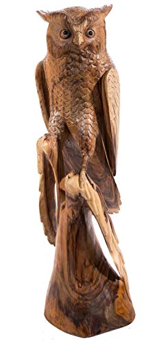 Windalf - Figura Decorativa con Forma de búho en Varilla (80 cm, Madera)