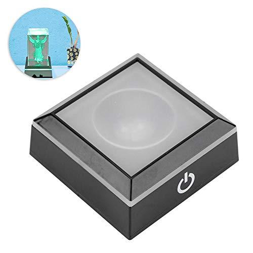 koulate Leichte Basis Display Box, LED Leichte Basis Display Box Show Stand Square Vase Batterie Multicolor betrieben für Crystal Art Glass Decor Crystal Square Vase