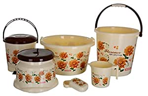 Aarohi13 Plastic Bath Set,6 Pieces, Brown