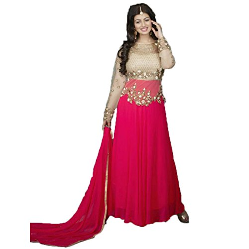 Alka Tex Women's Georgette Dress Material (_Free Size_Pink)