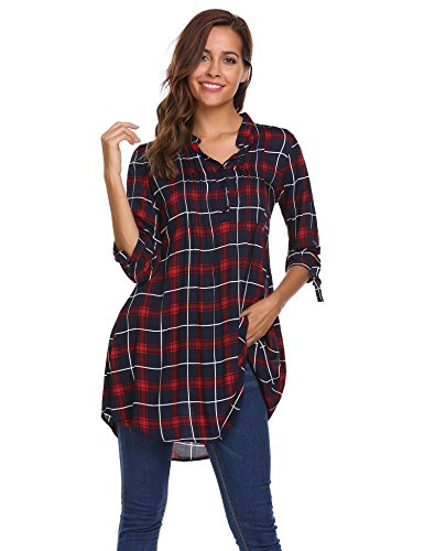 Meaneor Women Roll Up Sleeve Split V-Neck Plaid Long Shirts Loose Casual Tops