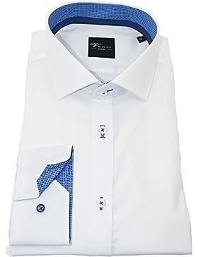 Venti Herrenhemd slimfit weißes Hemd uni nah langarm Hai Kragen ohne Tasche Kollektion Size 46