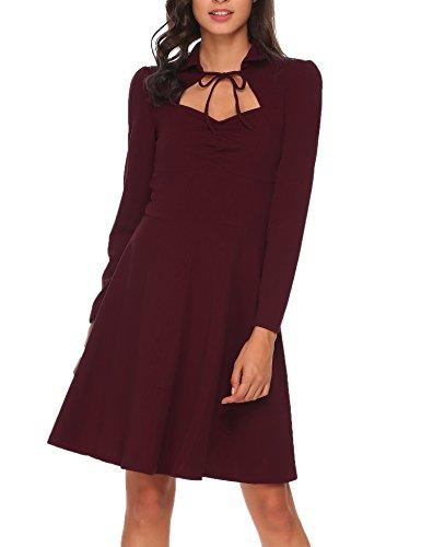 Meaneor Damen Elegant Retro Vintage Rockabilly Kleid Abendkleid Skaterkleid Langarm Kleid A Linie Swing Herbst Knielang Weinrot