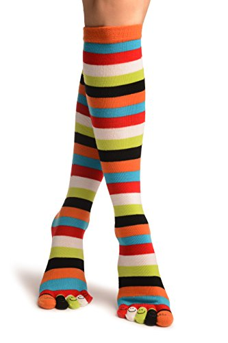 Red, Green & White Stripes & Printed Smiles Knee High Toe Socks - Mehrfarbig Zehensocken Einheitsgroesse (37-42) (Socken Stripe Knee High)
