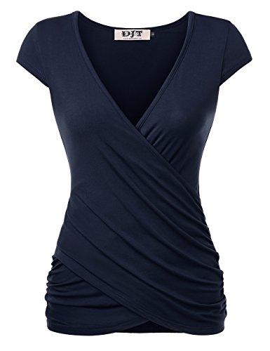 DJT FASHION Damen Kurzarm Shirt V-Ausschnitt Wickelshirt Sexy Slim Fit Bluse Dunkelblau M (Kurzarm-wickel-shirt)