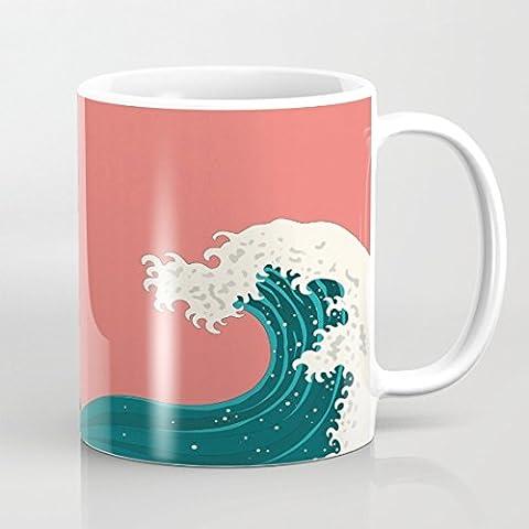 quadngaagd azul Wave Logo taza de café taza de té blanco