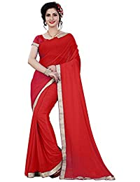 TRYme Fashion Women's Polyester Saree With Blouse Piece (X1 _Blue_Free Size)