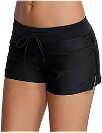 OLIPHEE Shorts de Bain Uni Femme Bas de Maillot de Bain Classique Shorty Multiusage