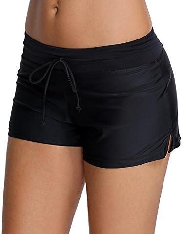 OLIPHEE Shorts de Bain Uni Femme Bas de Maillot de Bain Classique Shorty Multiusage FR 40-42(Tag XL),Noir