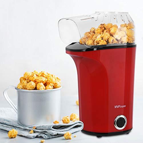 MVPower Popcornmaschine, 1400W Automatische Popcorn Maker, Leistungsstarkes Heißluft Ohne Öl, Abnehmbarem Deckel und BPA-Frei, für Zuhause