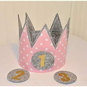 Geburtstagskrone Der Wollprinz, Krone, Kinder Geburtstag Kinderkrone Geburtstagskrone, Stoffkrone Pink mit den Zahlen 1,2,3,