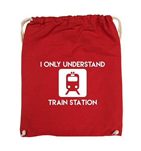 Comedy Bags - I ONLY UNDERSTAND TRAIN STATION - Turnbeutel - 37x46cm - Farbe: Schwarz / Pink Rot / Weiss