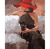 Handgemalte Digitale Malerei Rahmenlose Bild Von Digitalen Wein Mädchen Künstler Wohnsitz Dekorative Wand Leinwand Malerei Für Wohnzimmer 40X50 cm No Frame