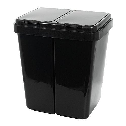 Grizzly Cubo de Basura - 2 Compartimentos - Doble contenedor con Separador con Capacidad de 2 x 25 l...