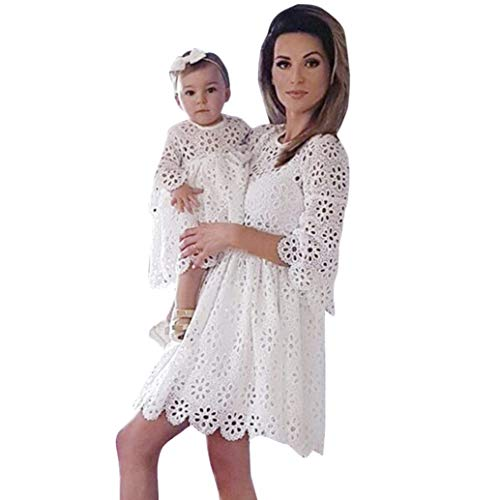 MCYs Mommy & Me Mutte und Tochter Baby Mädchen Langarm Lace Match Tochter Familie Kleid Herbst Blumen Spitze Strandkleid Minikleid (4Y, Tochter Weiß) - Designer Blumen-mädchen-kleider