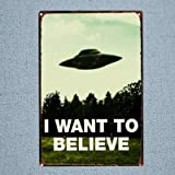 PotteLove UFO I Want to Believe Vintage Metal Signs Tin Plaques Wall Art Poster for Garage Man Cave Beer Cafee Bar Pub Club Home Decoration