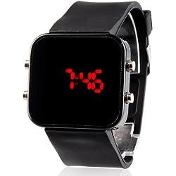 LightInTheBox Unisex Red LED Jumbo square Spiegel Gesichts-Silikon-Band-Armbanduhr (schwarz)
