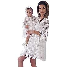 2850888af8b MCYs Mommy   Me Mutte und Tochter Baby Mädchen Langarm Lace Match Tochter  Familie Kleid Herbst