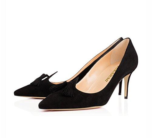 EDEFS Femmes Artisan Fashion Escarpins Classiques Particuliers Franges Bout Pointus Chaussures à talon haut aiguille de 100mm Noir Noir-65cm