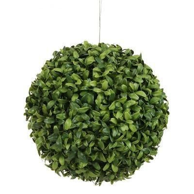 One 6 Inch Artificial Long Leaf Boxwood Ball Topiary Plant Decor by Silk Tree Warehouse - Ball Topiary Silk