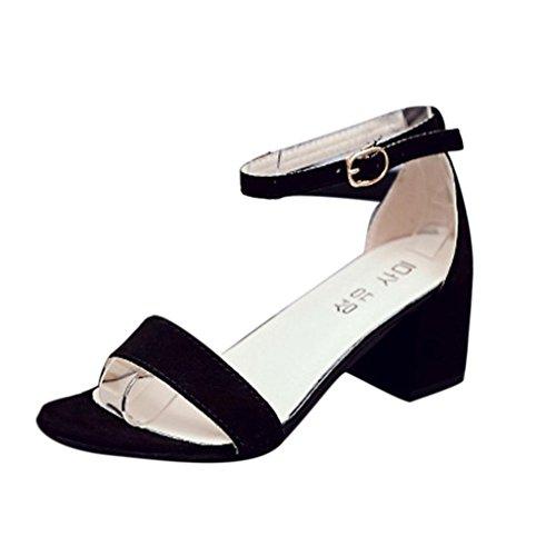 Sannysis Frauen Single Band Chunky Heel Sandale mit Knöchelriemen Sommer Sandalen Schuhe Damen Sandalen Flach Schuhe mit Strass Flip Flops Römer Damen Sommer (40, Schwarz) (Wasserdicht Keile Wildleder)