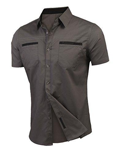 Grau Hemd Kurzarm Urlaub Bügelfrei Bügelleich L