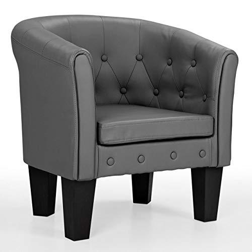 Gepolsterte Leder-club Sessel (Homelux Chesterfield Sessel, aus pflegeleichtem Kunstleder und Holz, mit Rautenmuster, Farbwahl, Lounge Sessel, Clubsessel, Armsessel, Cocktailsessel, Wohnzimmer Möbel, Design-Polstermöbel, GRAU)