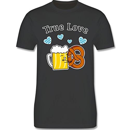 Oktoberfest Herren - True Love- Bier und Breze - Herren T-Shirt Rundhals Dunkelgrau
