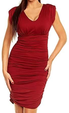 Glamour Empire donna vestito increspato mini abito scollo V senza maniche 525 (Crimson, 50)
