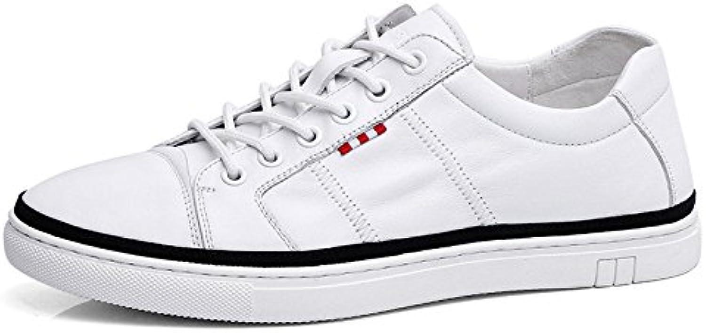 Männer Leder weissszlig Schuhe Einfache Trend Board Schuhe Lässig Atmungsaktiv Schnürschuhe
