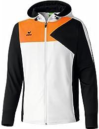 erima Jacke Premium One Trainingsjacke mit Kapuze - Chaleco de fútbol para niño, color (Weiß/Schwarz/Neon Orange), talla 8 años (128 cm)