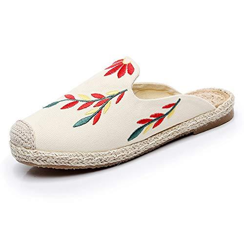 YOPAIYA Espadrilles Fischer Schuhe Stickerei Blätter Geschlossen Weiße Strand Schuhe Frauen Stroh Stricken Fischer Hausschuhe Dame Flache Maultiere Slides, 37