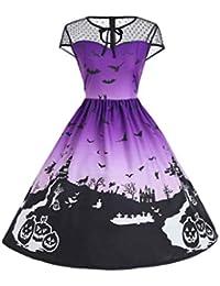 5ddb40de8f8e10 VEMOW Ausverkauf Angebote Frau Kostüm Mode Halloween A-Linie Spitze Kurzarm  Party Casual Täglichen Vintage