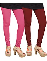 CAY 100% Cotton Combo of Baby Pink and Maroon Color Plain, Stylish & Most Comfortable Leggings For Girls & Women with Full Length (SIZE : Free Size)