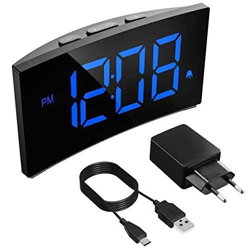"""PICTEK Digitaler Wecker, LED Wecker Digital, Tischuhr, Digitaluhr, Reisewecker, Digitalwecker, Randlos Kurve, Snooze, 3 Alarmtöne, 6 Helligkeit,5"""" LED-Display,USB-Ladeanschluss,12/24HR(Inkl.Adapter)"""
