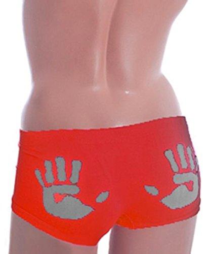 Boxer taille basse Motifs empreintes de mains Rouge