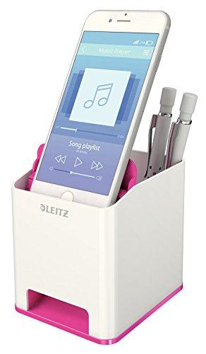 Leitz, Sound Stifteköcher, Soundverstärkungsfunktion, Weiß/Metallic Pink, WOW, 53631023 - 2