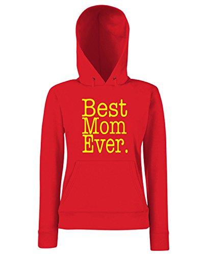 T-Shirtshock - Sweats a capuche Femme FUN0749 Best Mom Ever Rouge