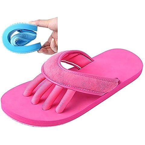 Slip-on Zapatillas de Yaga Separador de dedos ducha Sandalia Playa Mule antideslizante suela zapatos de piscina baño Slide para adulto, rosa (b)