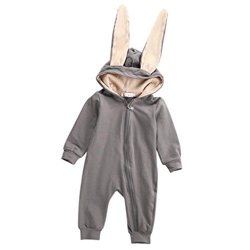 Säugling Mädchen Junge Hase 3D Ohr Warm Spielanzug Kleider_Hirolan (110, Grau) (Niedlich Fitness-outfits)