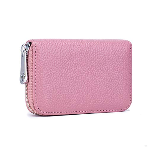 Womens Credit Card Holder Small RFID Blocking Ladies Wallet with Stainless Steel Zipper Excellent Genuine Leather Accordion Wallets Case for Women ID Compact Slim Blocked Zip Accordian Cards Pink (Slim Wallet Case Frauen Card)